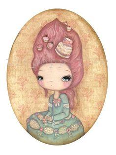 Marie Antoinette Art Print Girl Portrait French por thepoppytree