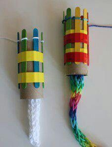 French knitting is an interesting way for kids to work with yarn. Imagine what you could make with this kids craft! And saves you from going out and buting those big plastic things (big projects for kids) Kids Crafts, Projects For Kids, Craft Projects, Arts And Crafts, Recycling Projects, Diy Crafts With Yarn, Paper Crafts, Kids Diy, Toilet Paper Roll