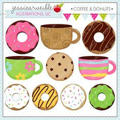 Coffee and Donuts Cute Digital Clipart for Commercial or Personal Use, Donut clipart, Donut Graphics on Etsy, $5.00