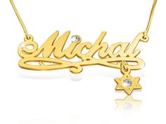 Gold Nameplate Necklace With Star of David Charm Gold Name Chain Name Necklace Gold Necklace With Name Necklace Bat Mitzvah Gift For a Girl Gold Name Necklace, Nameplate Necklace, Monogram Necklace, Gold Plated Necklace, Modern Jewelry Box, Star Of David, Necklace Designs, Personalized Jewelry, Jewelry Collection