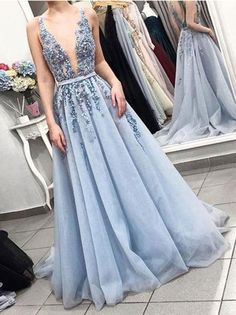 On Sale Absorbing V Neck Prom Dresses Blue V-Neck Beaded Prom Dress,Gorgeous Blue Tulle Evening Dress With Sash V Neck Prom Dresses, Beaded Prom Dress, Tulle Dress, Light Blue Prom Dresses, Dress Prom, Light Blue Wedding Dress, Blue Formal Dresses, Lace Dress, Blue Grad Dresses
