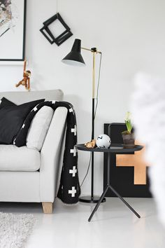 Love the whimsy in this . my scandinavian home: Living Room Interior, Home Living Room, Living Room Decor, Living Spaces, Scandinavian Interior Design, Scandinavian Home, Scandi Home, Scandi Style, Sofa Couch