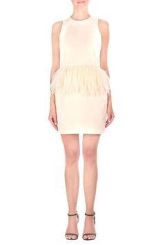 Posh Posse Feather Accent Dress - Cream