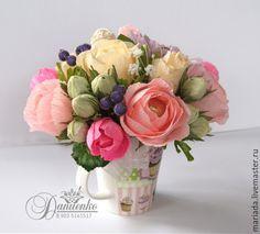 """Купить Цветочная кружка """"Летнее чаепитие' - бледно-розовый, подарок девушке…"""