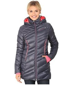 Spyder Womens Timeless Hooded Long Jacket  DepthBryte Pink Large -- Click on the image for additional details.