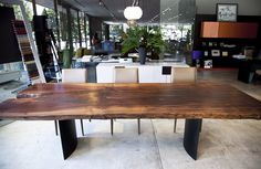I love the raw edge wood for my dining table!! Walnut Dining Table