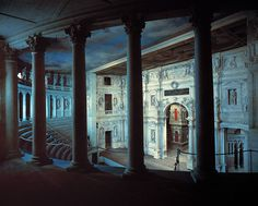 One of #Palladio's masterpieces. #Teatro #Olimpico is the oldest enclosed theater in the world, and is most noteworthy for its use of Renaissance perspective in a three-dimensional space. The facade is decorated with stone carvings, wooden statues, and painted tromp l'oeil to make it look like a busy street scene.