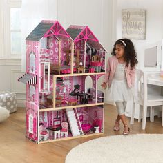Pink & Black Dollhouse with Furniture Monster High Barbie Doll Playset House #Unbranded #Mansion