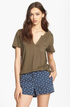Snub knit T with printed shorts. A great casual summer look.