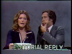 """Jane Curtin and Chevy Chase - from old school SNL, Weekend Update. """"Jane, you ignorant slut"""". Best Of Snl, Snl Characters, Candice Bergen, Weekend Update, Saturday Night Live, Clash Royale, Classic Tv, Clash Of Clans, The Good Old Days"""