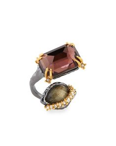 Y2BPV Alexis Bittar Elements Rocky Metal Ring with Pear/Octagon Pyrite