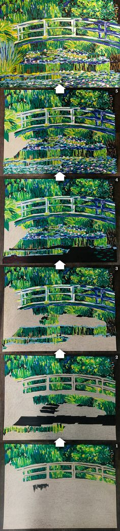 """Replica of """"Water Lily Pond"""" by Claude Monet made with IPG masking tape! The final framed given away at Pack Expo International, November Sculpture Art, Sculptures, Linear Art, Tape Art, Lily Pond, Claude Monet, Masking Tape, City Photo, November"""