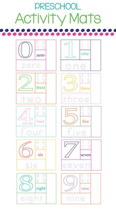 Grab your FREE Preschool Activity Mats from One Beautiful Home Numbers Preschool, Learning Numbers, Free Preschool, Preschool Lessons, Preschool Kindergarten, Preschool Learning, Fun Learning, Preschool Activities, Number Activities