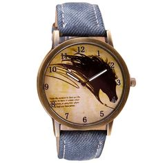 Retro Womens Ladies Wolf Dial PU Leather Casual Analog Quartz Wrist Watches