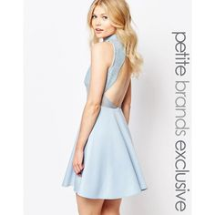 John Zack Petite Baroque Sequin Mesh Mini Skater With Backless Detail ($38) ❤ liked on Polyvore featuring dresses, blue, petite, sequin dresses, skater dress, white dress, petite dresses and sequin skater dress