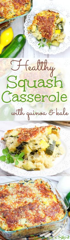 Healthy Squash Casserole recipe. Uses summer squash and zucchini with quinoa, kale and greek yogurt for creaminess! A clean eating twist on the classic comfort foods southern dish. Simple, healthy, easy and so tasty! Packed with vegetables from gardens for a perfect summer meal.   Running in a Skirt