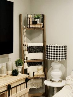Finally accessorized my blanket ladder. My Living Room, Living Room Decor, Bedroom Decor, Home Decor Furniture, Diy Home Decor, Ladder Decor, Wood Ladder, Living Room Inspiration, My New Room