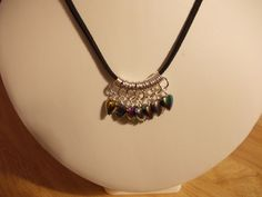 Silver and multicolour haematite heart charm necklace £6.50