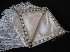 Victorian White Beaded Long Fringe Antique Purse