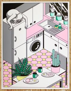 An illustration from series Photosympathise, which images a world where plants and human beings swap places in the home, by Freya Morgan, an illustration graduate from Central Saint Martins.