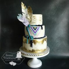 Boho, southwest style cake in shades of purple, blue and gold: feathers and edible turquoise jewelry Bake My Cake, Gold Feathers, Southwest Style, Shades Of Purple, Custom Cakes, Turquoise Jewelry, Cake Cookies, 3rd Birthday, Boho Fashion