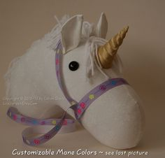White Unicorn Stick Horse Head by LilsGarden on Etsy