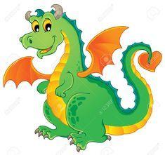 Dragon Theme Image 1 - Vector Illustration Royalty Free Cliparts, Vectors, And Stock Illustration. Middle School Art, High School Art, Caricature, Dinosaur Kids Room, Stickers 3d, Big Dragon, Dragon Illustration, School Murals, Cute Dragons
