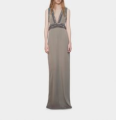 matte crêpe de chine embroidered gown