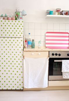 Polka dot fridge! Dots and stripes by jasna.janekovic, via Flickr