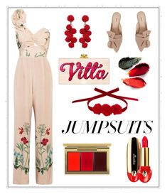 """""""One And Done: Jumpsuits"""" by shamrockclover ❤ liked on Polyvore featuring Johanna Ortiz, Schutz, Humble Chic, Vjera Vilicnik, MAC Cosmetics, Rituel de Fille, Guerlain and jumpsuits"""
