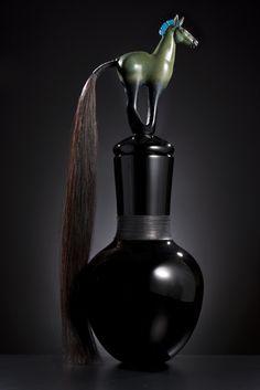 """Verdant Horse Netsuke Pot"" Blown glass horse netsuke lid with natural horse hair  www.muzylowski.com"