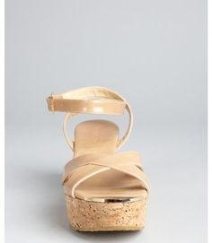 5c57de2a98acd Jimmy Choo Nude Patent Leather Panther Cork Wedge Sandals in Beige (nude) -  Lyst