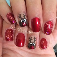 Christmas, red, negative space, accents, reindeer, glitter top coat, gold, rudolph