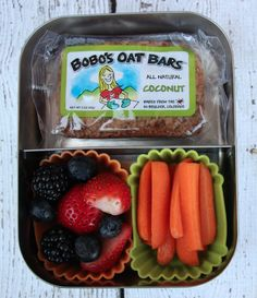 The perfect snack for on the go: Coconut Bobo's Oat Bar with carrots and berries.