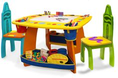 Children S Art Table And Chair Set Official Crayola License Product Includes 2 Kid