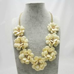 Free PP Newest Faux Stone Pearl 1 7 Big Flower Statement Bubble Necklace 6Color | eBay