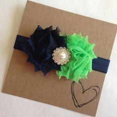 SEAHAWKS Headband - Blue and Green Shabby Flower Headband, Baby Headband, Newborn, Flower Headband, Seahawks' Colors, NFL, Seattle