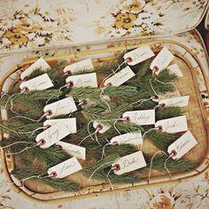 branches de sapins pour le nom des invités