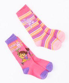 Love this Pink & Purple Dora Knee Socks Set by Dora the Explorer on #zulily! #zulilyfinds