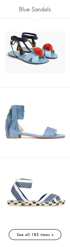 """""""Blue Sandals"""" by kikikoji ❤ liked on Polyvore featuring shoes, sandals, suede shoes, multi color sandals, lace-up sandals, pom pom lace up sandals, ankle strap shoes, light blue, stuart weitzman and tie sandals"""