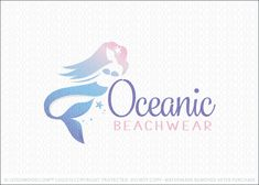 Logo for sale: Simple and soft mermaid figure swimming in the ocean sea. Soft pale blues and coral pink shades create soft and soothing appearance.
