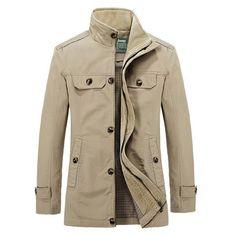 Men's Fall Winter Fashion Jacket Stand Collar Slim Fit Stylish Casual Long Coat - Gchoic.com