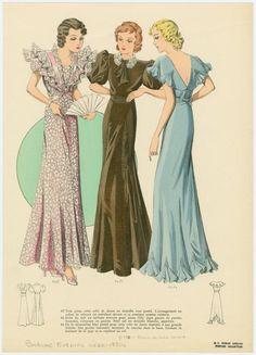 [Three women wearing formal dresses.]