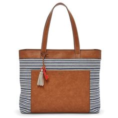 Fossil Madison Large Tote Shb1448566 Color: Blue Stripe Print ($99) ❤ liked on Polyvore featuring bags, handbags, tote bags, brown tote purse, fossil purses, blue purse, blue tote bag and brown purse