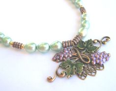 Vintage Pendant Necklace Enameled Nouveau by MissBusyBeeJewelry, $24.00
