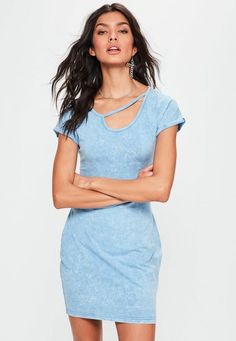 e2fe9e6cf6 Blue Washed Cut Out Neck Detail Bodycon Dress - Missguided Missguided