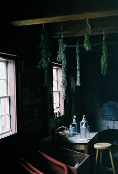 Hanging Herbs, Dark Interiors, Amazing Spaces, Rustic Charm, Beautiful Space, My Dream Home, Decoration, Living Spaces, Sweet Home