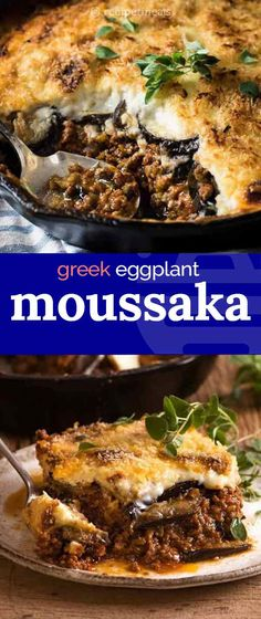 Moussaka (Greek Eggplant Lasagna) A rich tomato meat sauce layered with eggplant instead of pasta sheets, and topped with a thick layer of béchamel sauce, this traditional Greek recipe takes time to assemble – but it's well worth the effort. Mediterranean Diet Recipes, Mediterranean Dishes, Traditional Greek Moussaka Recipe, Traditional Lasagna Recipe Bechamel, Traditional Greek Recipes, Cooking Recipes, Healthy Recipes, Delicious Recipes, Vegetarian Recipes