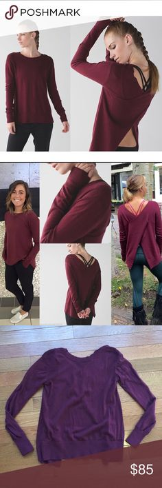 """Lululemon Sunset Savasana Pullover in Wine Berry I believe this is a size 4 or 6, but the size tag is missing. Lying flat and unstretched I measured the chest armpit-to-armpit at about 17"""" across. 24"""" long. In very good, lightly worn condition.  """"Designed for cuztomizable warmth on and off the mat - leave the back open for extra airflow or button it up during sunset down dogs. Sweat wicking Merino wool is a natural insulator and temperature regulator. Thumbholes keep sleeves down and chills…"""