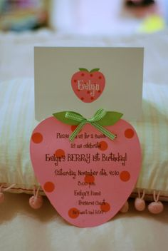 Strawberry Shortcake Birthday Invitations by palmbeachpolkadots, $2.25 I can make these for Sky's first birthday!